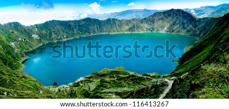 Volcano crater lake panorama, Quilotoa, Ecuador - stock photo