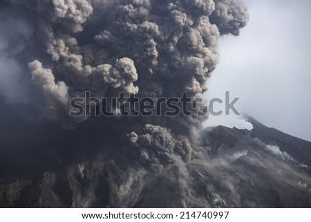 Volcano erupting - stock photo