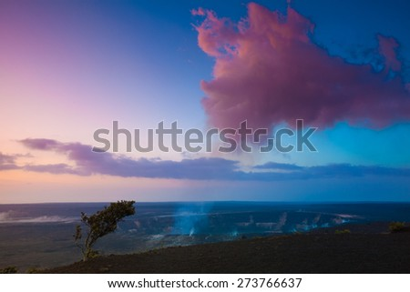 Volcano erupting at early sunrise at Hawaii Volcanoes National Park, Big Island, Hawaii - stock photo