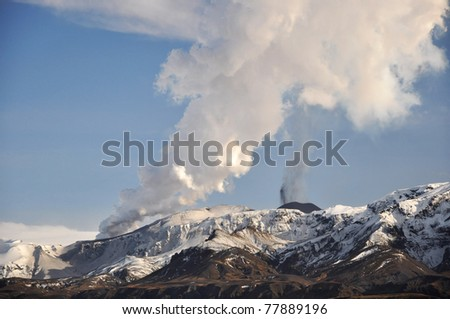 Volcano eruption, Iceland - stock photo