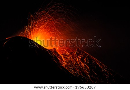 Volcano Etna eruption - stock photo