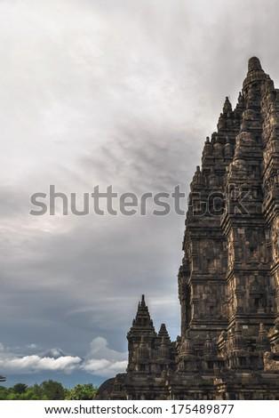 volcano Hindu temple Prombanan complex in Yogjakarta in Java, indonesia - stock photo