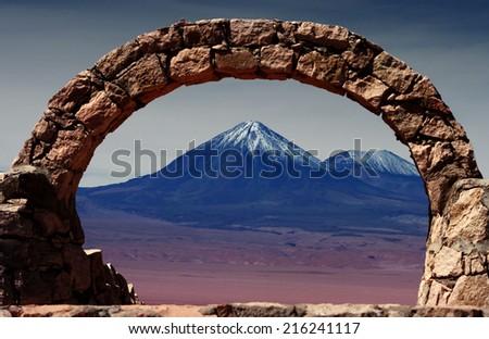volcano in the desert of Atacama, Chile - stock photo