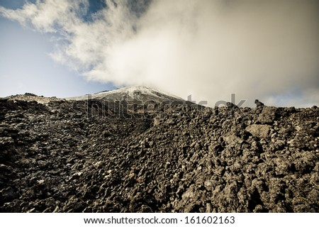 Volcano Mt Ngauruhoe, New Zealand - stock photo