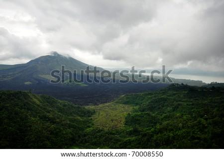 Volcano of mountain Ba-tur bali indonesia,tourist attraction - stock photo