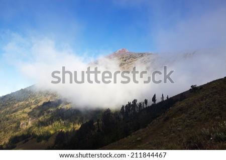Volcano Rinjani in cloud with summit path - stock photo