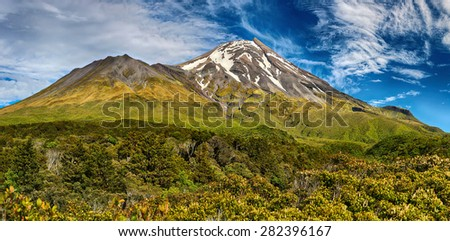 Volcano Taranaki, New Zealand - panoramic view - stock photo