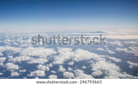 Volcano Teide, aerial view from window of airplane. Canary Island, Spain - stock photo