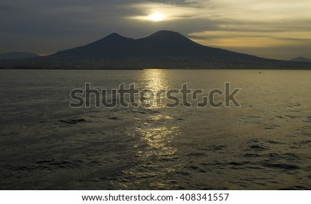 volcano vesuvius near naples at sunrise - stock photo