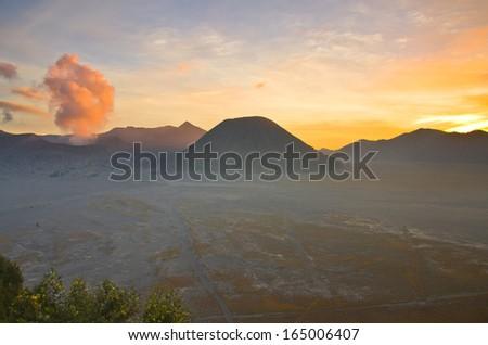 Volcanoes in Bromo Tengger Semeru National Park at sunset. Java, Indonesia - stock photo