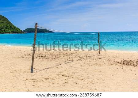 voley ball net at the beach - stock photo