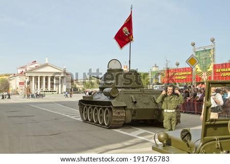 t 34 tank stalingrad  VOLGOGRAD - MAY 9: