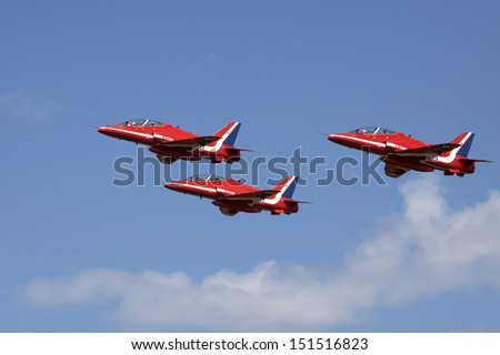 VOLKEL, NETHERLANDS - JUNE 15: Fighter jets  during the Royal Netherlands Air Force Day on June 15, 2013 in Volkel, Netherlands.   - stock photo