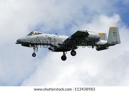 VOLKEL, NETHERLANDS - JUNE 18: USAF A-10A Thunderbolt arriving at the Royal Netherlands Air Force Days June 18, 2009 in Volkel, Netherlands. - stock photo