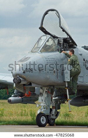 VOLKEL, NETHERLANDS - JUNE 16: USAF A-10A THUNDERBOLT on display Royal Netherlands Air Force Days June 16, 2007 in Volkel, Netherlands. - stock photo