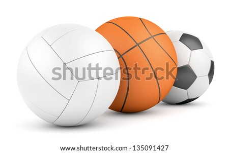 Volleyball, basketball and soccer ball in row isolated on white. Team sport game concept. - stock photo