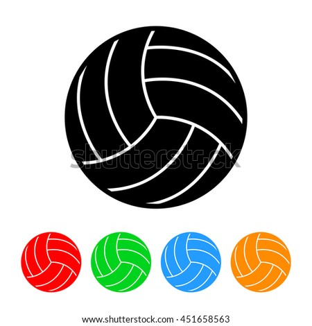 Volleyball Icon with Four Color Variations.  Raster Version - stock photo