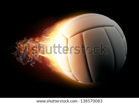 Volleyball in Fire on black background - stock photo