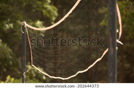 volleyball net on the beach close-up. Volleyball net at the beach, sports concepts   - stock photo