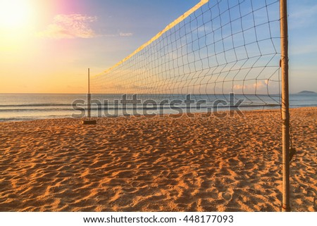 Volleyball net on the beach on summer. - stock photo