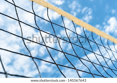 volleyball net sky clouds outdoors - stock photo