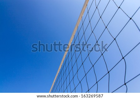 Volleyball net with  blue sky for background design - stock photo