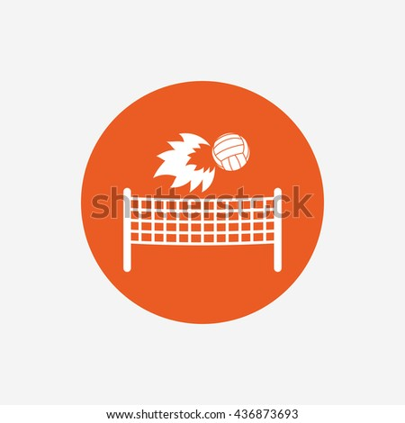 Volleyball net with fireball sign icon. Beach sport symbol. Orange circle button with icon.  - stock photo