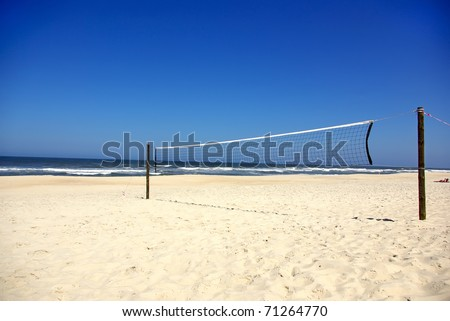 Volleyball nets in beach. - stock photo