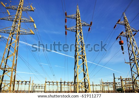 Voltage power lines at Portugal. - stock photo
