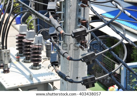 voltage transformer and current transformer - stock photo