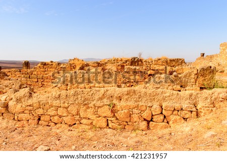 Volubilis, an excavated Berber and Roman city in Morocco, ancient capital of the kingdom of Mauretania. UNESCO World Heritage - stock photo