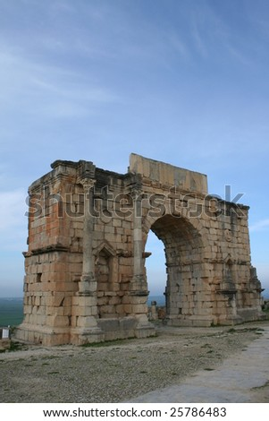 Volubilis Roman old city, Morocco, at early morning - stock photo