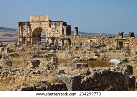 Volubilis - Roman ruins in Morocco - stock photo