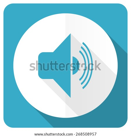 volume blue flat icon music sign  - stock photo