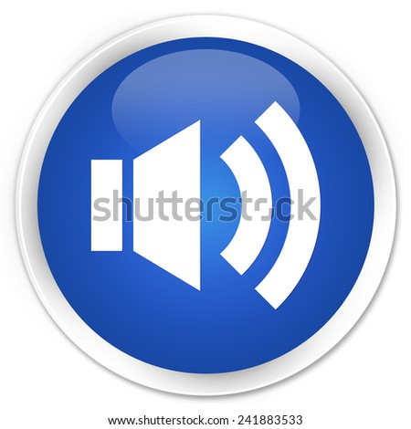 Volume icon blue glossy round button - stock photo