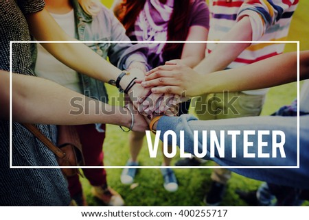 Volunteer Charity Helping Hands Give Concept - stock photo