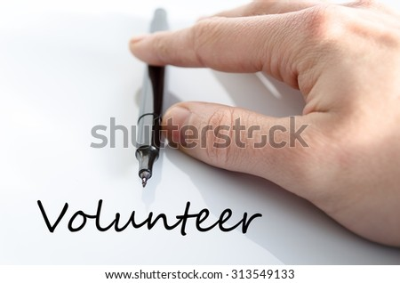 Volunteer text concept isolated over white background - stock photo