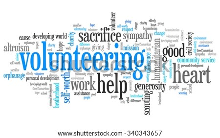Volunteering issues and concepts word cloud illustration. Word collage concept. - stock photo