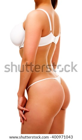 Voluptuous woman in white underwear, isolated on white background - stock photo
