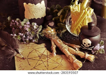 Voodoo theme with love potion and pentagram symbol, Halloween background - stock photo