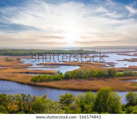 vorskla river delta - stock photo