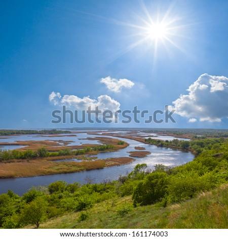 vorskla river scene - stock photo