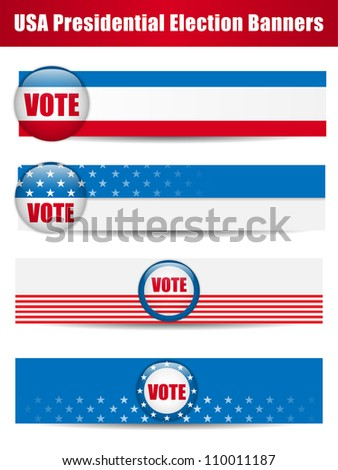 Vote Banners. Set of four with Background - stock photo
