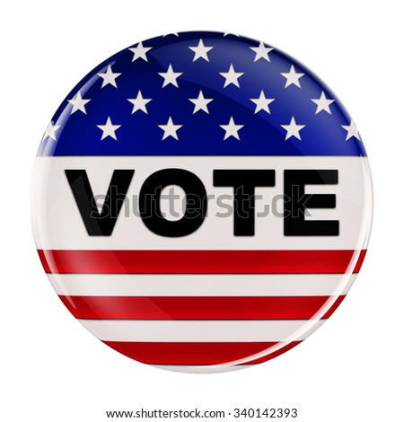 Vote button inspired by the American flag with clipping path over white background - stock photo