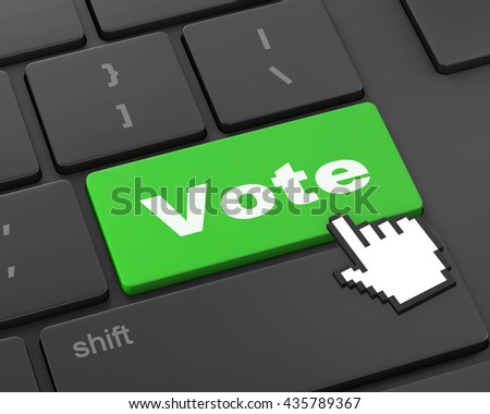 vote button on computer keyboard showing internet concept, 3d rendering - stock photo