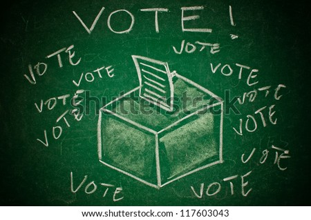 Vote concept. Ballot box on green chalkboard - stock photo