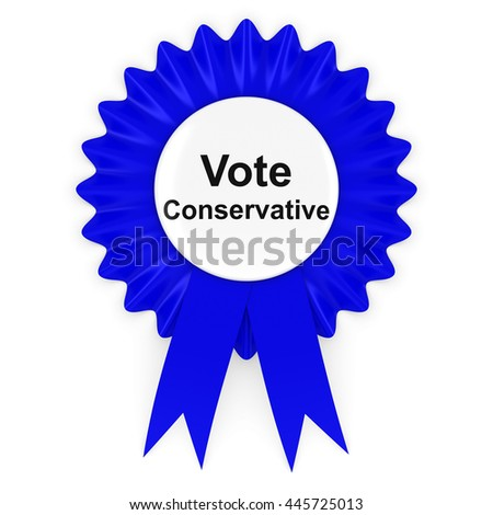Vote Conservative UK Elections Rosette Badge 3D Illustration - stock photo