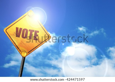 vote, 3D rendering, a yellow road sign - stock photo