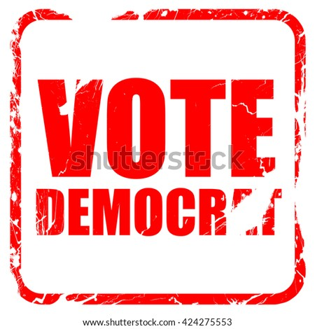 vote democrat, red rubber stamp with grunge edges - stock photo