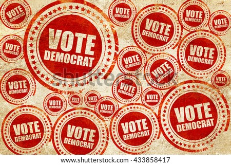 vote democrat, red stamp on a grunge paper texture - stock photo
